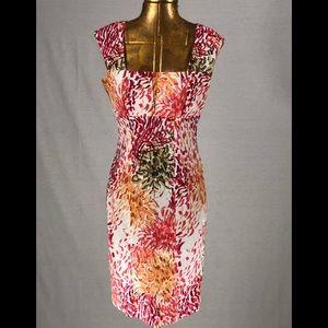 Calvin Klein Sz 4 Day Dress Multi Color Cap Sleeve